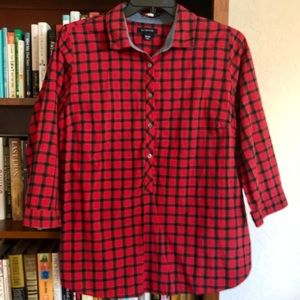 Lands' End red plaid popover top with 3/4 sleeves